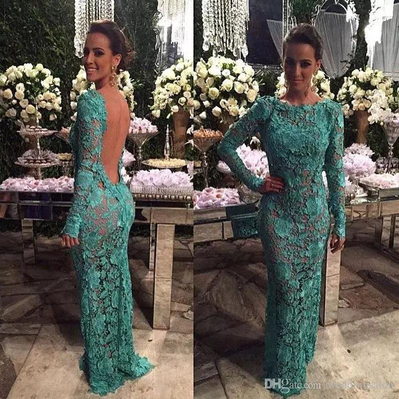 Green Floral Lace Mermaid Evening Dresses Jewel Neck Long Sleeve Backless Celebrity Gown Sweep Train Evening Party Dress