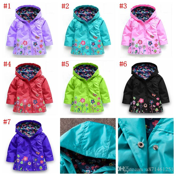 Girls flower Raincoat 5 Color Free DHL Kids Fashion Baby Girls Clothes Winter Coat Flower Raincoat Jacket For Windproof Outwear