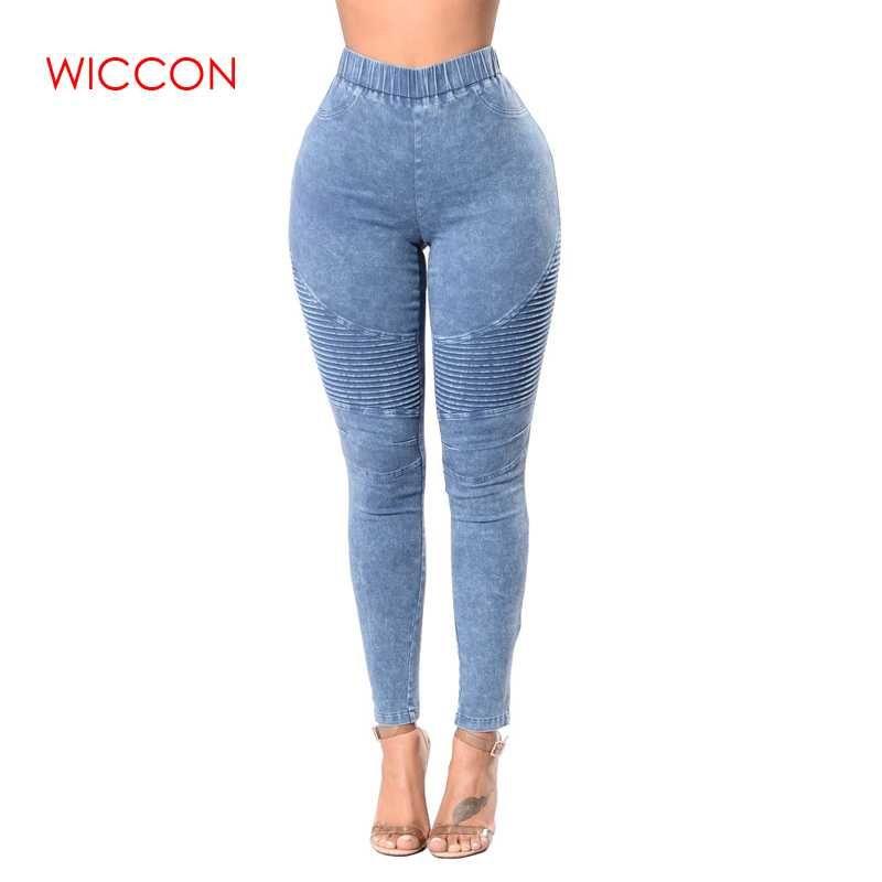 Diseño plisado de los pantalones vaqueros de las mujeres de cintura alta pantalones vaqueros largos delgados femeninos cintura elástica pantalones de lápiz Causal Hip Ladies XXL