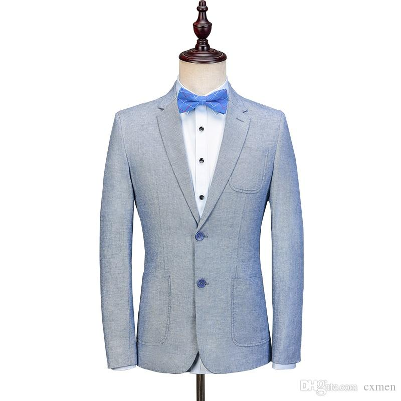 2018 New Arrivals Custom Made Blue Linen Men Suit Slim Fit Summer Beach Handsome Wedding Mens Blazer Style Prom Party Jacket+Pant 2 Pieces