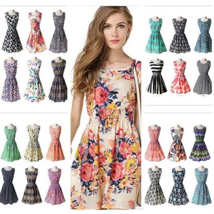 2018 prom 19 designs Women Casual flower Dresses Cheap Dress Fashion Sleeveless Summer fashion Casual Dresses for womens Plus Size XL