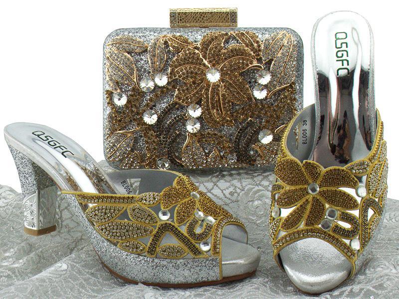 Новый топ qualityAfrican обувь и соответствующие сумки Серебряный итальянский дизайн Африканская обувь и сумки соответствующий набор Женская обувь и сумка