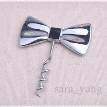 Free shipping 100pcs/lot Wedding favor Black Tie Bottle Opener Bow-Tie Red Wine Corkscrew Groom favors Wedding party gifts for guests