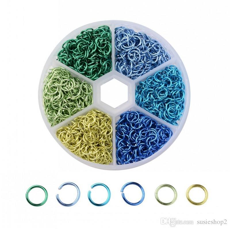 1 set 6 couleurs environ 1080 Pcs 6mm métal plaqué ouvert anneaux de saut bon pour la fabrication de bijoux