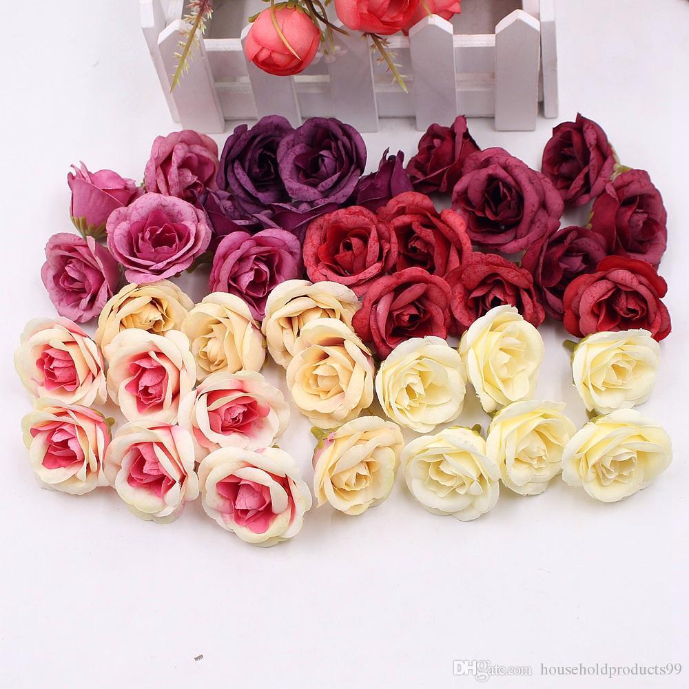 Rose Fai Da Te acquista 4 cm seta rosa fiore artificiale nozze arredamento la casa fai da  te ghirlanda fogli artigianato simulazione fiori finti economici a 0,32 €