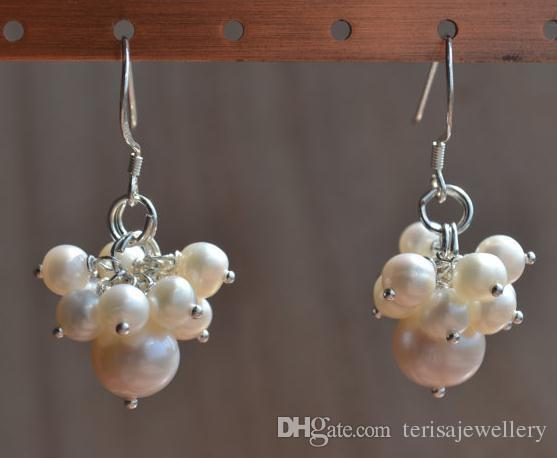 Oryginalne kolczyki Pearl, białe 5-8mm Słodkowodne Pearl Grape Earring 925 Sterling Silver Biżuteria, prezent urodzinowy damy mody