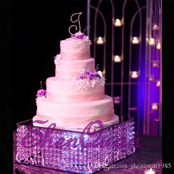 أفضل بائع موقف الكعكة المثالي مع حبات الكريستال شنقا 2 مختلفة الحجم كريستال حامل الكيك زينة الكعكة زينة الزفاف حزب