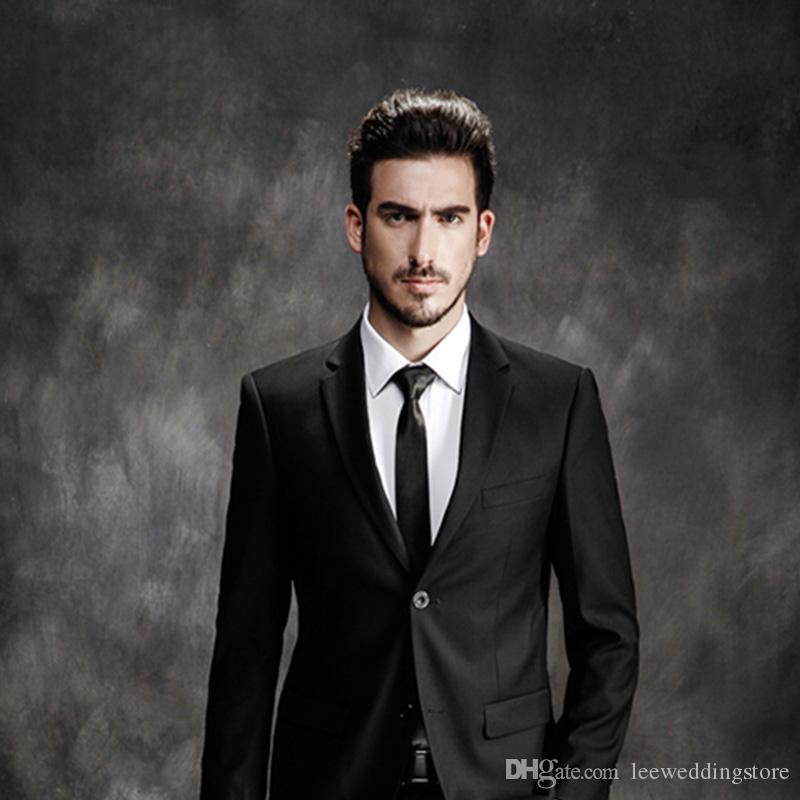 Handsome Black Gentle Costume Business Man Smart Casual Slim Fit Men Suits Custom Made Plus Size Wedding Suits Party Best Man Groom Wear