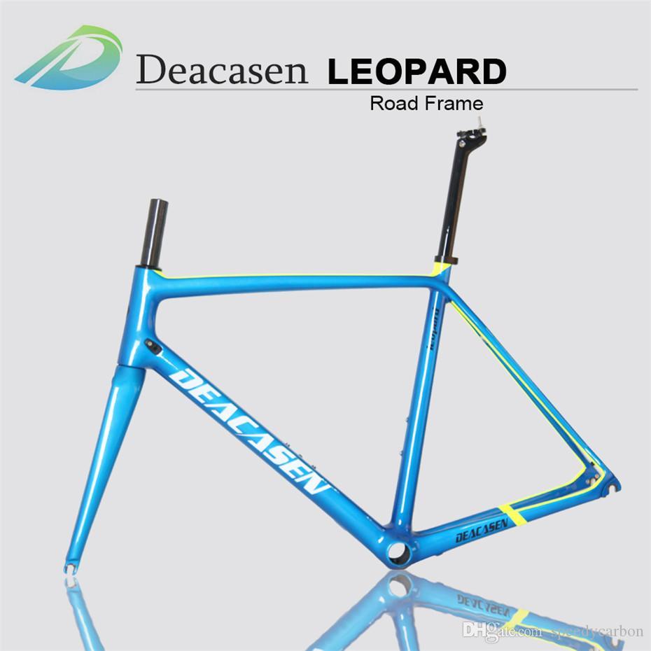 2018 New Bike Frame Cost Seat Post Carbon Fiber Bicycle Frame  ManufacturersV Brake For Road Bike Derailleur Di2 And Mechanical Finished  Glo Lightest