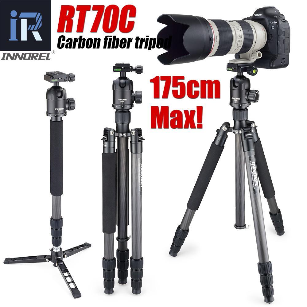 Atacado Tripé De Fibra De Carbono RT70C Monopé Portátil 15 KG urso DSLR câmera de vídeo digital tripé Stand profissional para Nikon Canon
