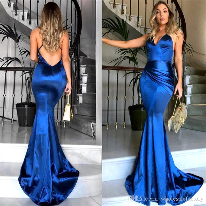 2018 Spaghetti Straps Satin Mermaid Long Prom Dresses Ruched Criss Cross Backless Long Prom Gowns Evening Dresses