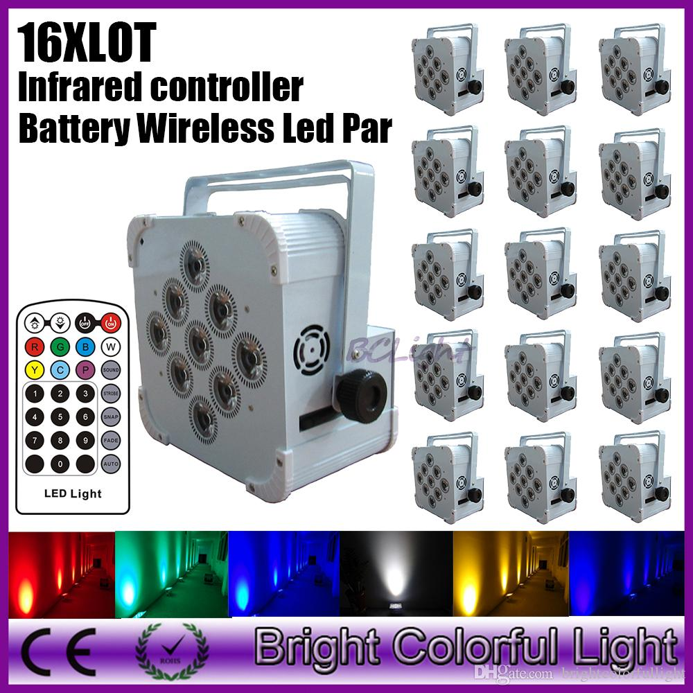 16XLOT newest RGBWA UV 6 in led battery powered & wireless dmx led wash par can up lights with infrared remote controller 9x18W