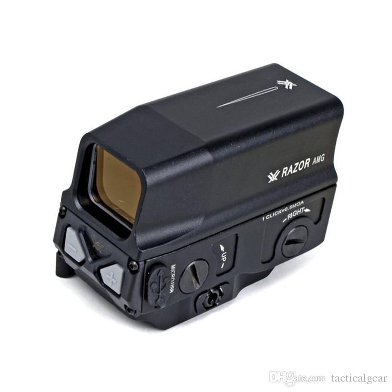 Optical UH-1 Holographic Sight Red Dot Sight Reflex vista Carica USB per 20mm Mount Airsoft Caccia Fucile Nero