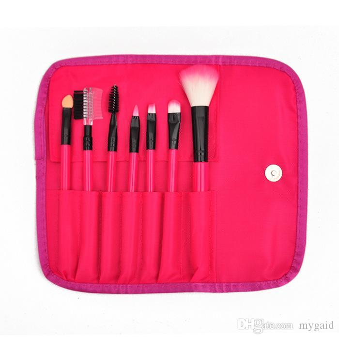 7pcs макияж кисти наборы профессиональных синтетических волос красоты макияж косметические кисти наборы инструментов розовый черный фиолетовый розовый красный бежевый