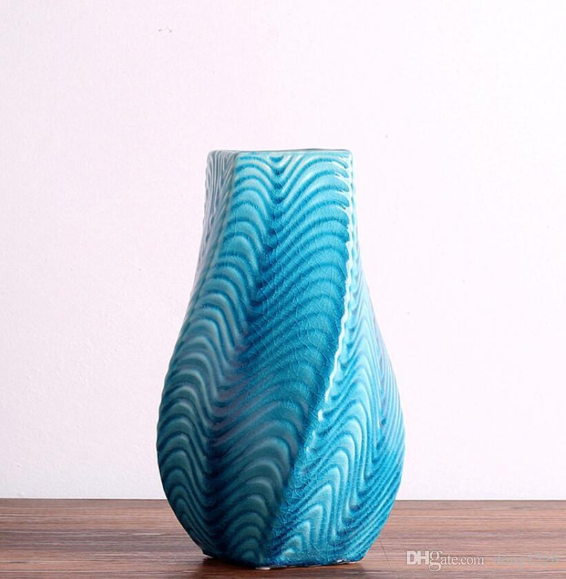 ceramica creativa onda blu Retro fiori vaso vaso home decor artigianato camera decorazioni di nozze vintage figurine di porcellana ornamento