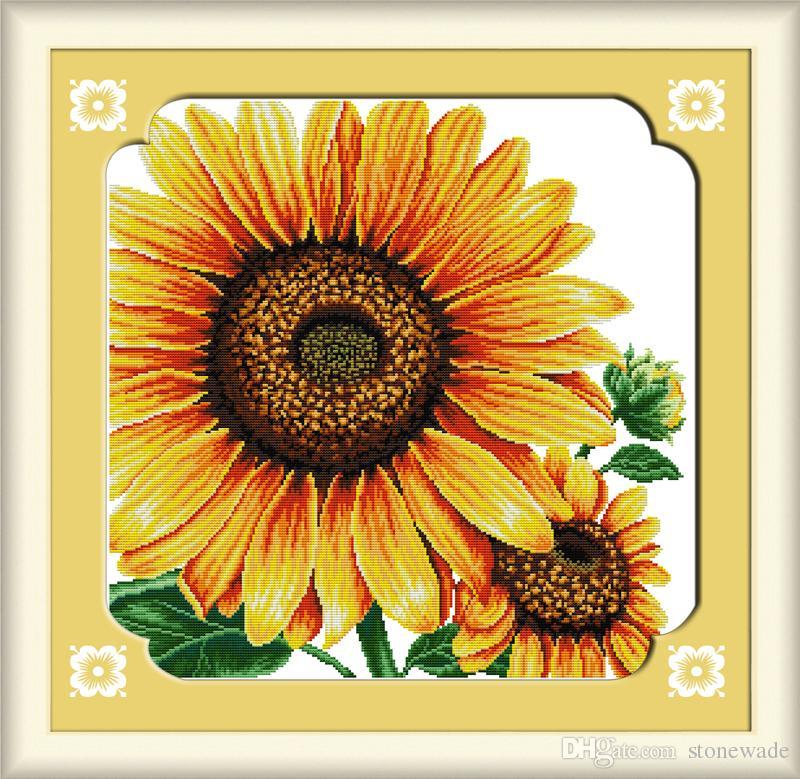 Pinturas decorativas de girasoles para el hogar, Bordado a mano de punto de cruz Conjuntos de costura contados en lienzo DMC 14CT / 11CT