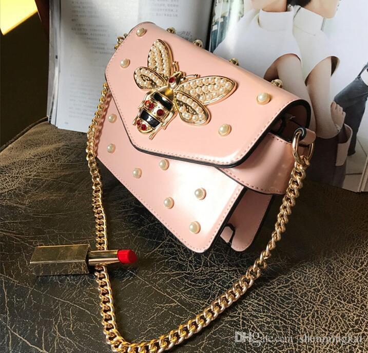 Women's Luxury small bee bag rivet small square bag simple shoulder shoulder Chain Handbag red pink black white