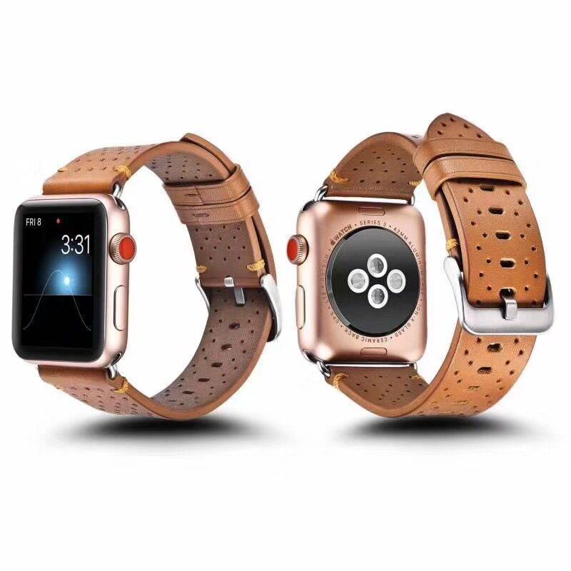 Watch Bands 2021 Luxury Genuine Real Leather Strap Band 42mm 38mm Series 3 2 1 Bukle Bracelet