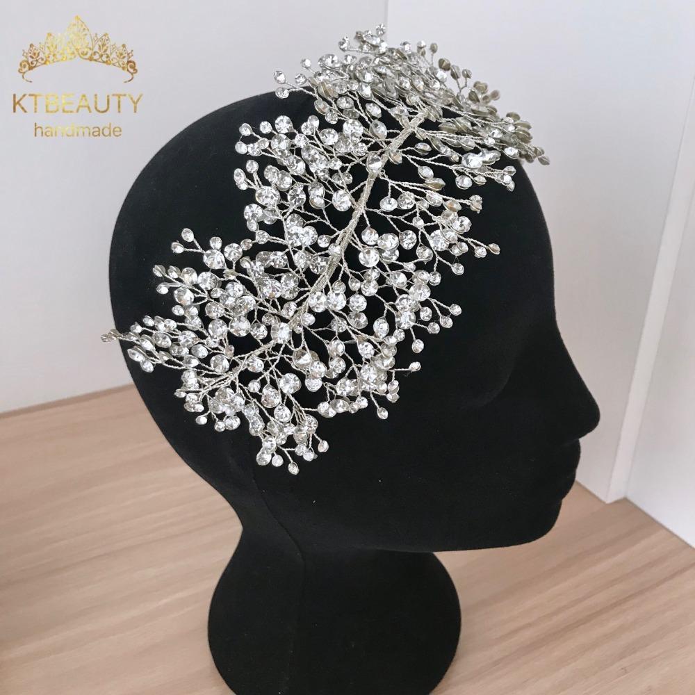 Luxury Handmade Silver Gorgeous Crystal Headband Gorgeous Bridal Hairpin Jewelry Royal Bridal Wedding Hair Accessories 469 C18110801