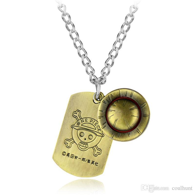 Jewelry Anime One Piece Luffy Straw Hat Bronze Metal Pendants Necklace Cosplay