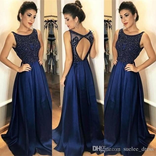 Navy Blue Beaded Prom Dresses cinghie Sexy Hollow Back Chiffon Sweep Train Scoop Neck Womens Evening Party Gown formale usura occasione
