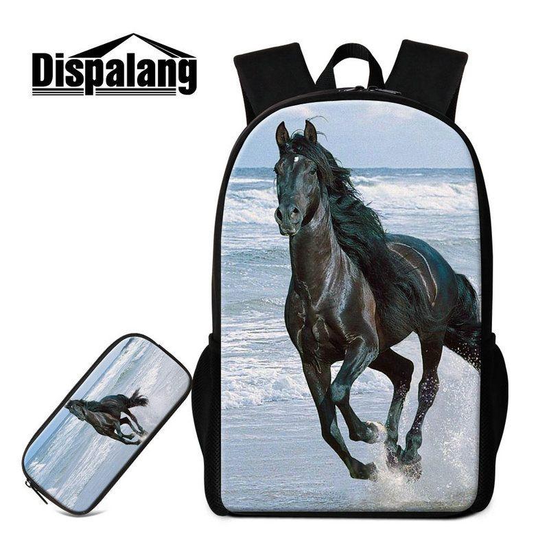 2 PCS/Set Animal Large Backpack Bags For Middle School Children Fashion Kids Pencil Bag Horse Pattern Back pack Book bags Mens Mochilas