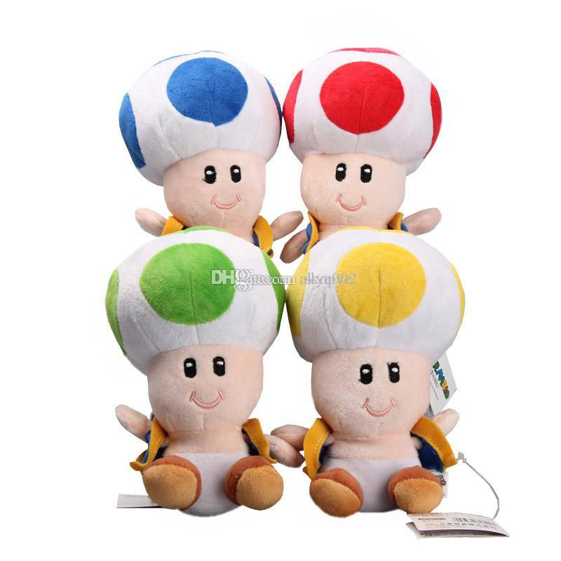 "Hot Sale 4 Style 6.5"" 17cm Toad Super Mario Bros Plush Stuffed Doll Toy For Kids Best Holiday Gifts"