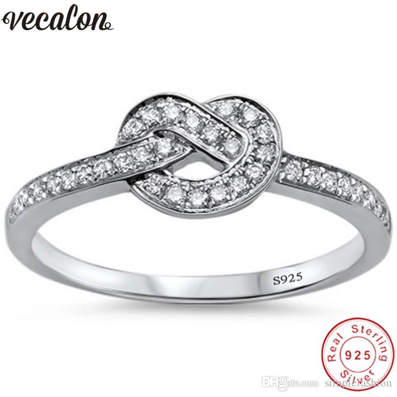 925 Silver Infinity Cuff Rings for Women Open Zircon Ring Wedding Party Jewelry