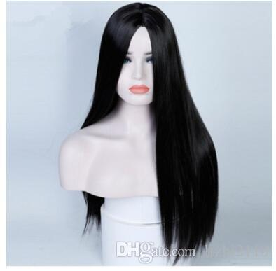 2018 transfronterizo cos fabricantes dama negro peluca larga recta sub pelo / kill kill / venta caliente Europa y América peluca de venta directa