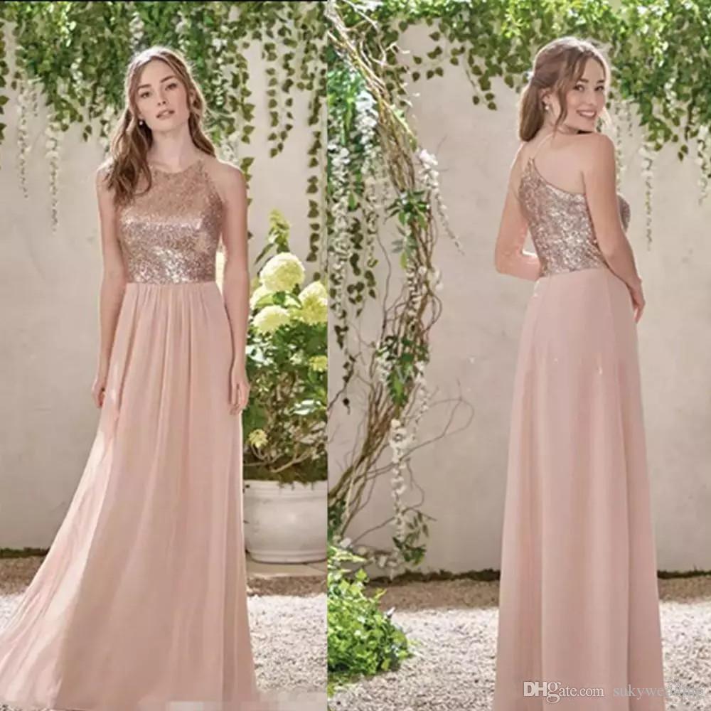 Rose GoldPaillette Brautjungfernkleider Chiffon Hochzeit Kleider Halter-Strand-Hochzeit Gust-Kleid Fußboden-Länge einer Linie Mädchen der Ehrenkleider