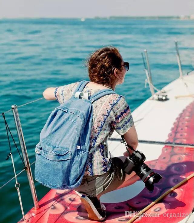 Unisex Vintage Washed Denim Jean Rucksack Shoulder School Bag Boys Girl Travel Matching Backpack 2 Colors