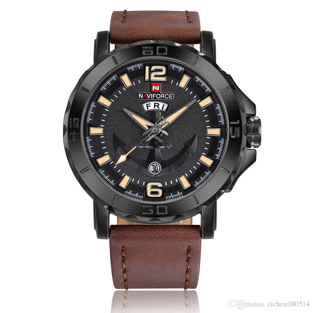 NAVIFORCE Original Good quality Men's Analog Quartz Waterproof Sport Leather Band Date Week Wrist watch 9122