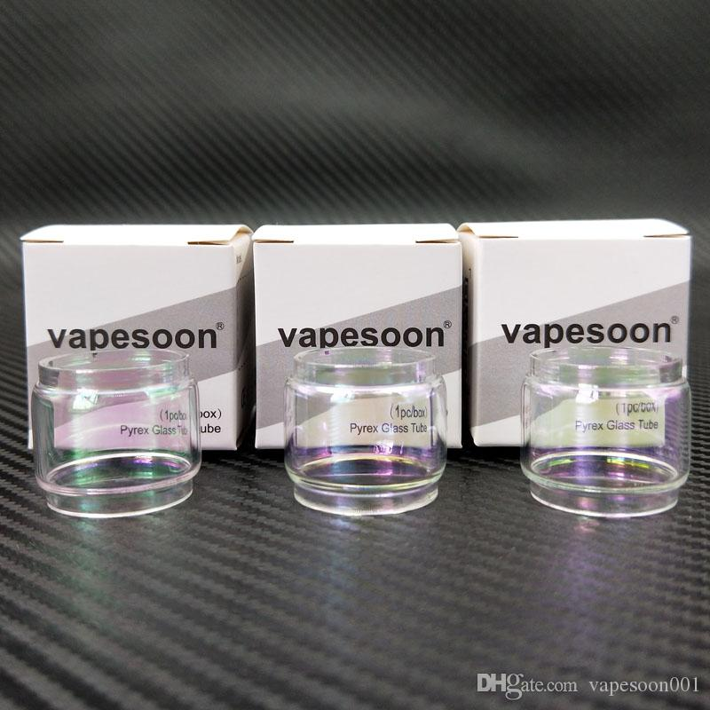 Auténtico VapeSoon Rainbow Tubo de vidrio convexo para TFV12 Prince 8ml UWELL NUNCHAKU / IJOY Diamond TANK Avenger 4.7ml Vandy Vape Mesh 24 RTA