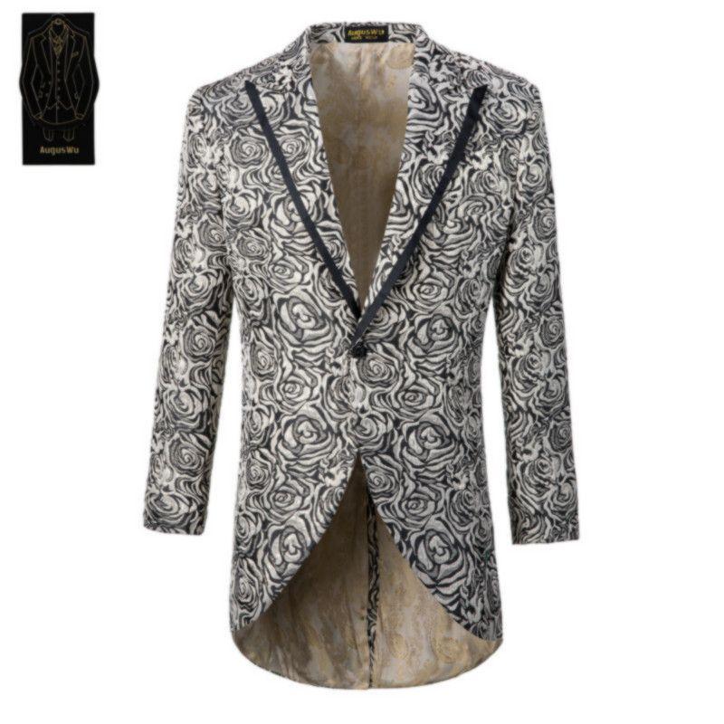 Erkek tek düğme smokin takım elbise iki parçalı takım (ceket + pantolon) erkek jakarlı moda ince takım elbise destek özel