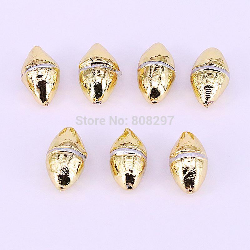 New Style 10pcs de metal banhado a ouro pérola de água doce conector Spacer Beads, para DIY Fazendo a colar pulseira jóias encontrar