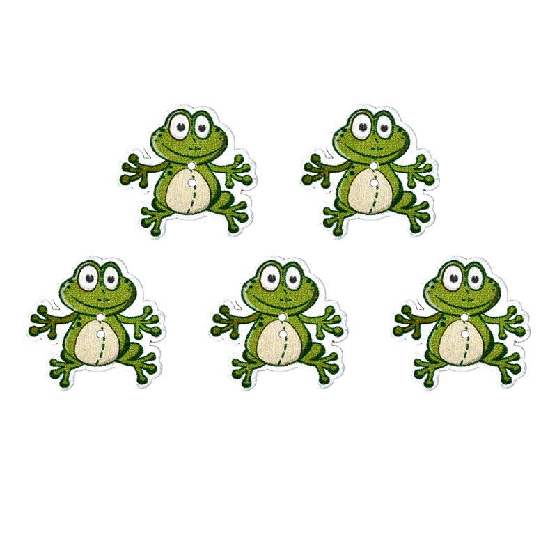 Green Frog Shaped Wooden Buttons 2 Holes For Sewing Accessories Clothing DIY Decorarion Handmade Craft 50pcs/Set