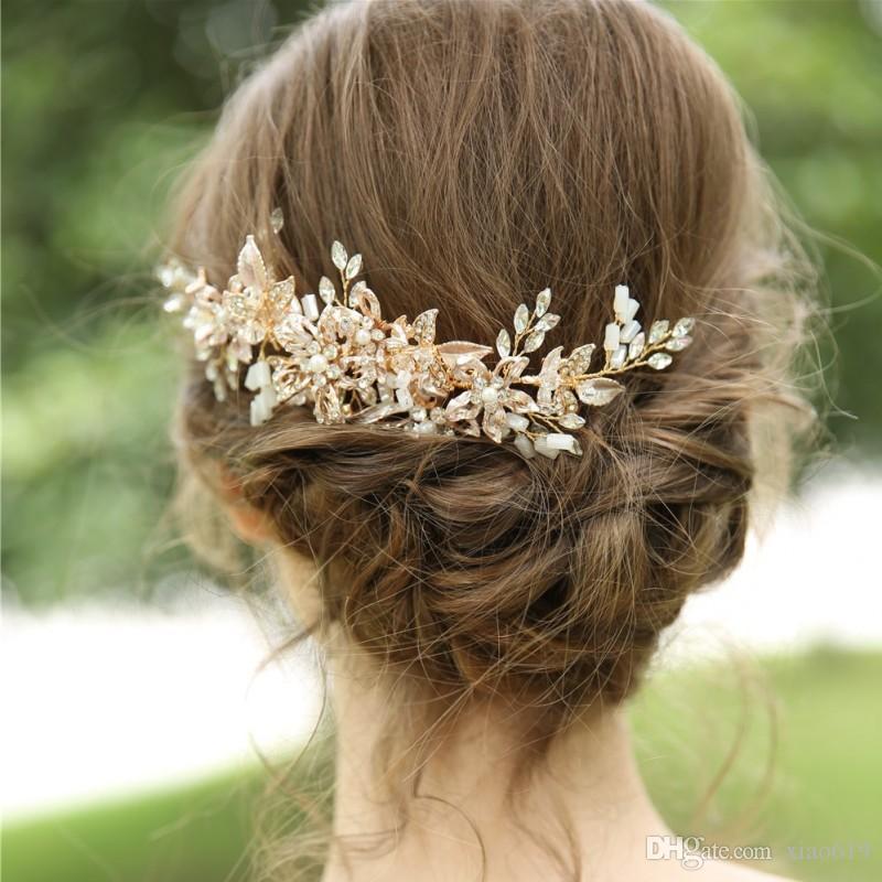 Золотой цветочный лист волос расческа для новобрачных женщин головной убор ручной Пром партии свадебные волосы Oranment аксессуары