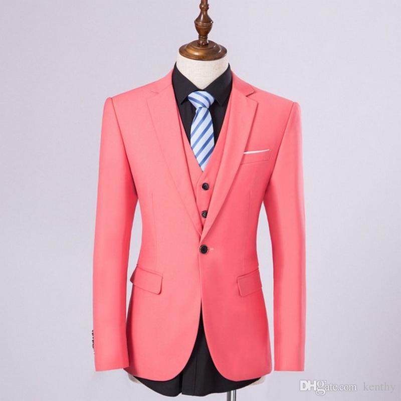 2018 Men Suits Wedding Rosa entalhado lapela Ternos vestido de noite Custom Made Noivo Slim Fit Formal Groomsmen smoking melhor homem Prom 3piece