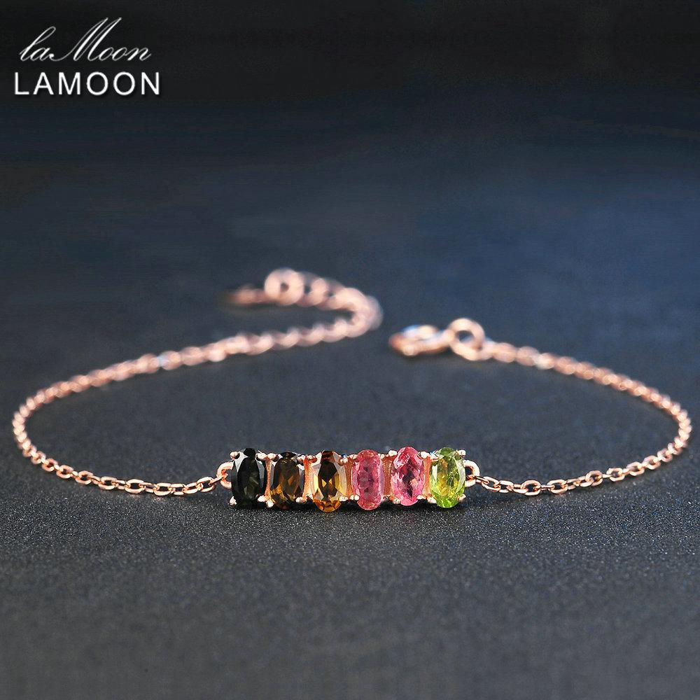 LAMOON Classic 100% Natural 6pcs Multi-Color Oval Tourmaline 925 Sterling Silver Jewelry S925 Bracelet LMHI018 S18101507