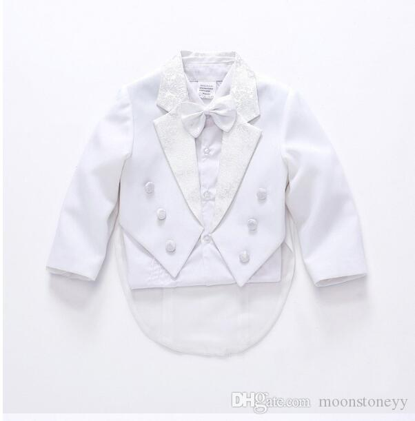 new fashion white / black baby boys 5 suit kids blazers boy suit for weddings prom formal spring autumn wedding dress boy suits