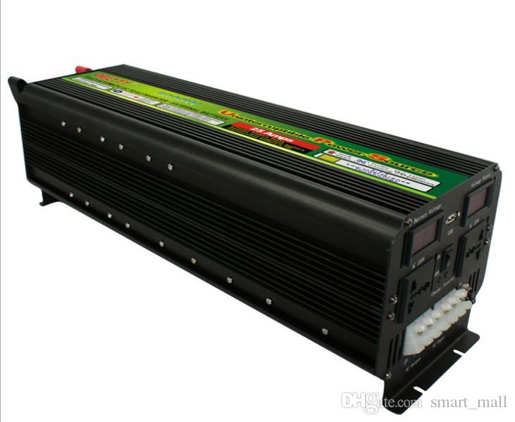 Affichage LED de fret gratuit 5000Watt 10000W (pic) 12V / 24V À 220V 230V Onduleur + chargeur de batterie UPS LLFA