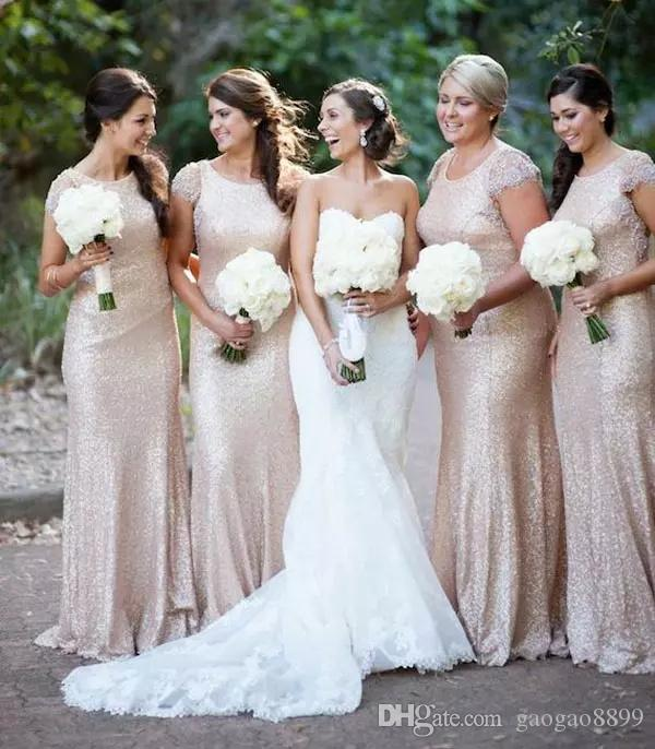 2019 Rose gold Sequins mermaid Bridesmaid Dresses Cap Sleeve Crew Neckline Fit and Flare Maid Of Honor Dresses wedding party gowns
