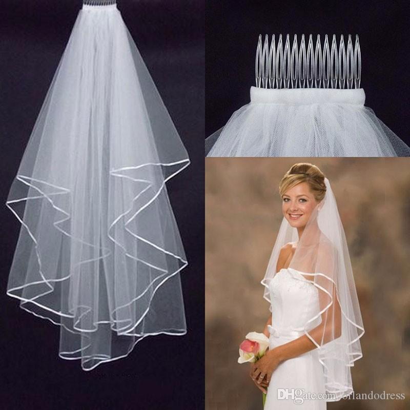 Véus de noiva elegantes com borda de fita Novo 2 camadas brancas / marfim acessórios curtos do casamento em estoque véus de casamento com pente
