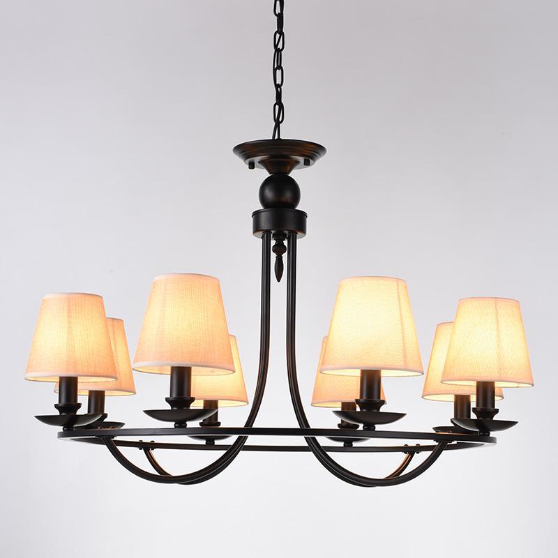 الثريا أدى النمط الأمريكي خمر قلادة مصباح النسيج الظل مصباح السقف ل غرفة المعيشة غرفة الطعام رسمت e14 المقبس