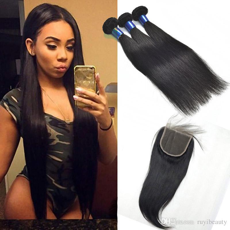 Малазийские человеческие волосы Пучки С 5X5 Закрытие Natural Color Straight Virgin Extensions волос с 5X5 Закрытие Утки Straight человеческих волос