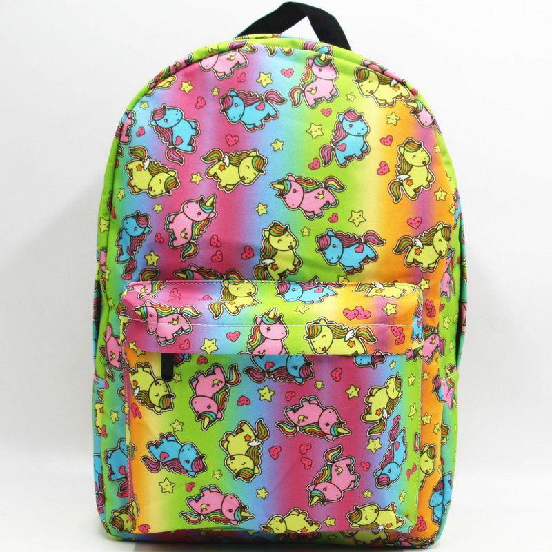 اللون النيون الظهر لوليتا نمط يوم حزمة يونيكورن فتاة المدرسة حقيبة عارضة packsack الجودة حقيبة الرياضة المدرسية في daypack