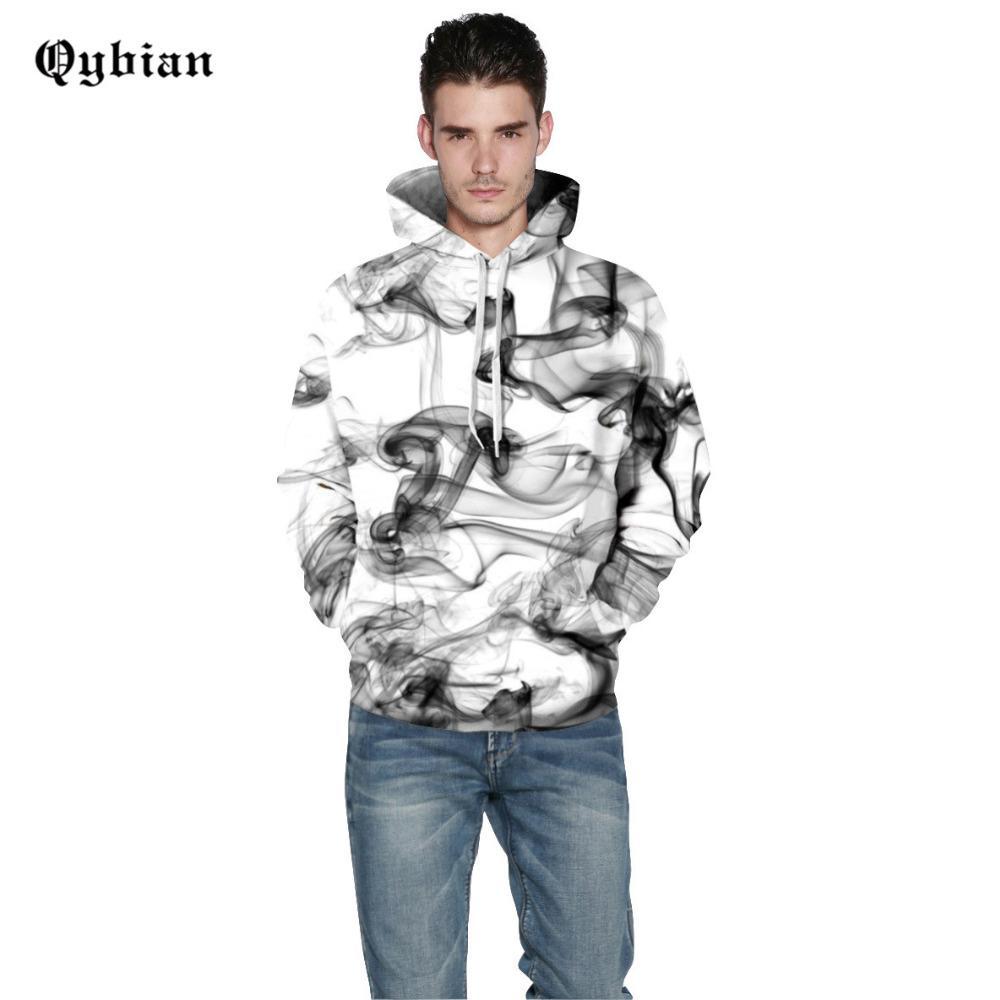 Qybian Simple Hooded Sweatshirt 남성 여성 2017 웃긴 담배 프린트 Mens 후드 하라주쿠 Hoodie Men Hoody 스웨트
