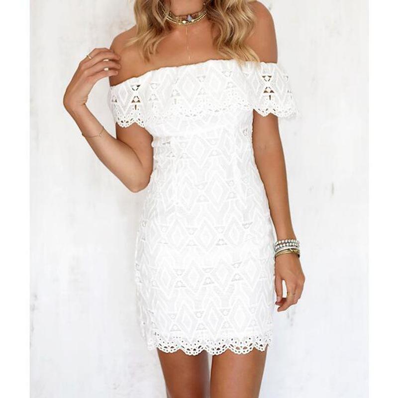 Compre Moda Mujer Elegante De La Vendimia Dulce Encaje Vestido Blanco Elegante Sexy Barra De Slash Casual Playa Delgada Vestido De Verano Vestidos A