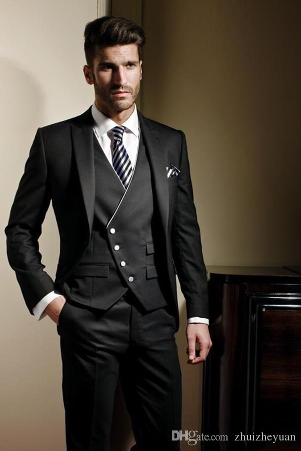 New Classic Black Custom Made Men Suit Groom Tuxedos Groomsmen Formal Suits Business Men Suit Wedding Bestman Wear (Jacket+Pants+Vest)