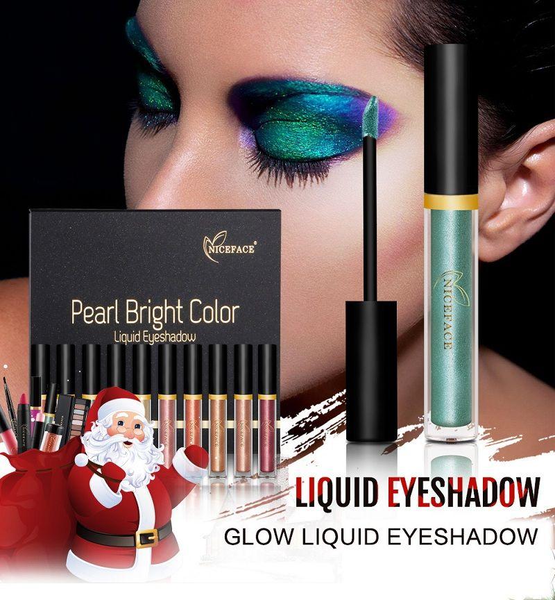 NICEFACE 17 Pçs / set Glitter Eyeshadow Pigmento Olhos Sombra de Olho Líquido Set Shimmer Highlighter Kits de Maquiagem Presente de Natal